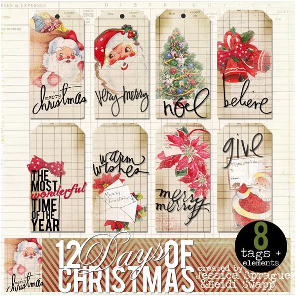 JS-HKS Christmas vintage tags
